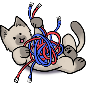 a kitten playing with a ball of network cables
