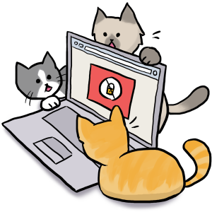 kittens looking at a laptop with a security warning