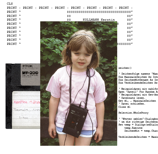 portrait of Kay as a child, with samples of code she wrote