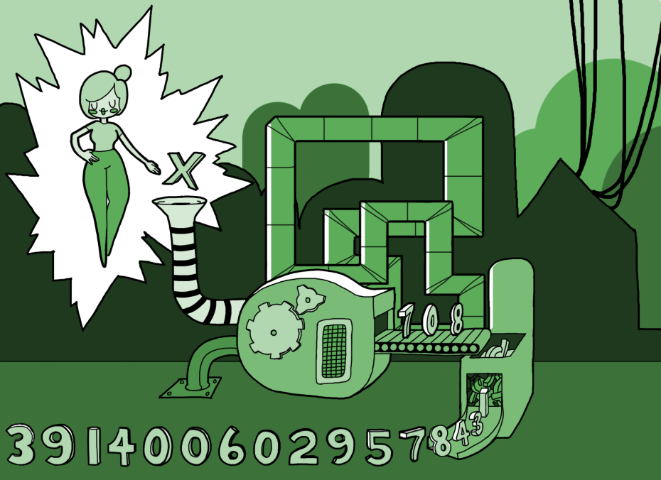 "an illustration of a pixie putting ""x""es into a machine and creating a stream of numbers"