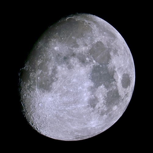 Waxing gibbous moon on July 4, image made from stacking 47 photographs