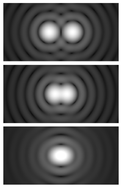 Airy disk spacing near the Rayleign criterion, from a public domain image sourced from Wikimedia Commons