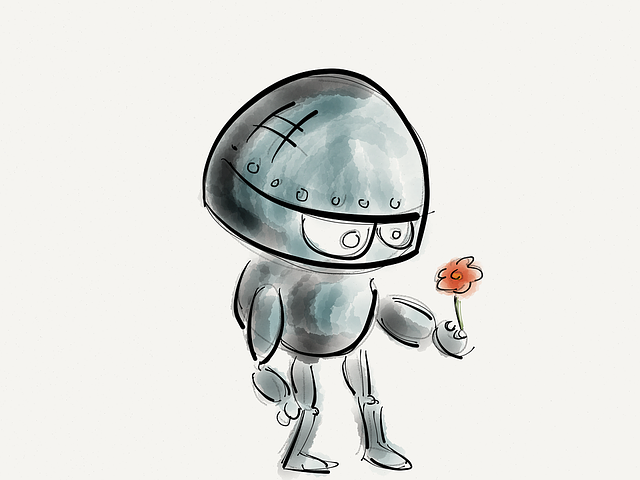 a drawing of a robot holding a flower