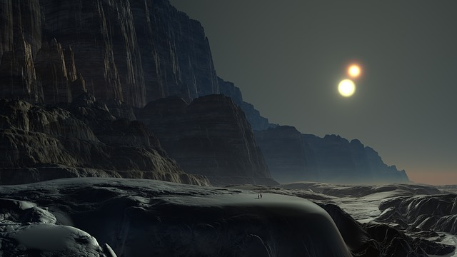 two small human figures in the distance of a stark alien landscape under two suns