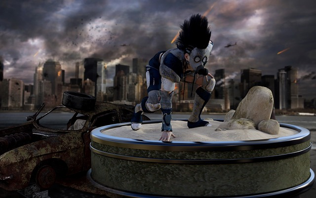 a person with a mohawk wearing a gas mask crouches in front of a burning city