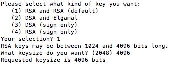 Generating a RSA key pair with keysize 4096 using GPG