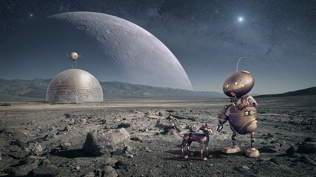 robot and robot dog on a rocky planet