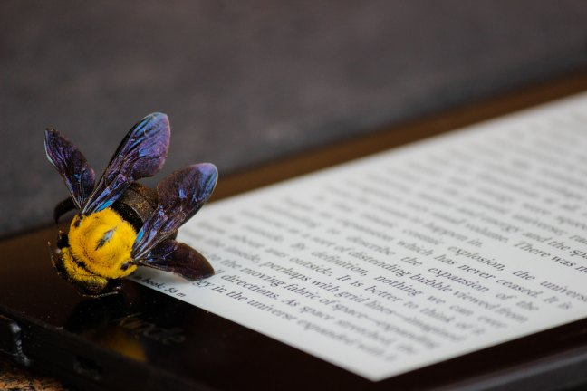 A dead bee on an ereader.