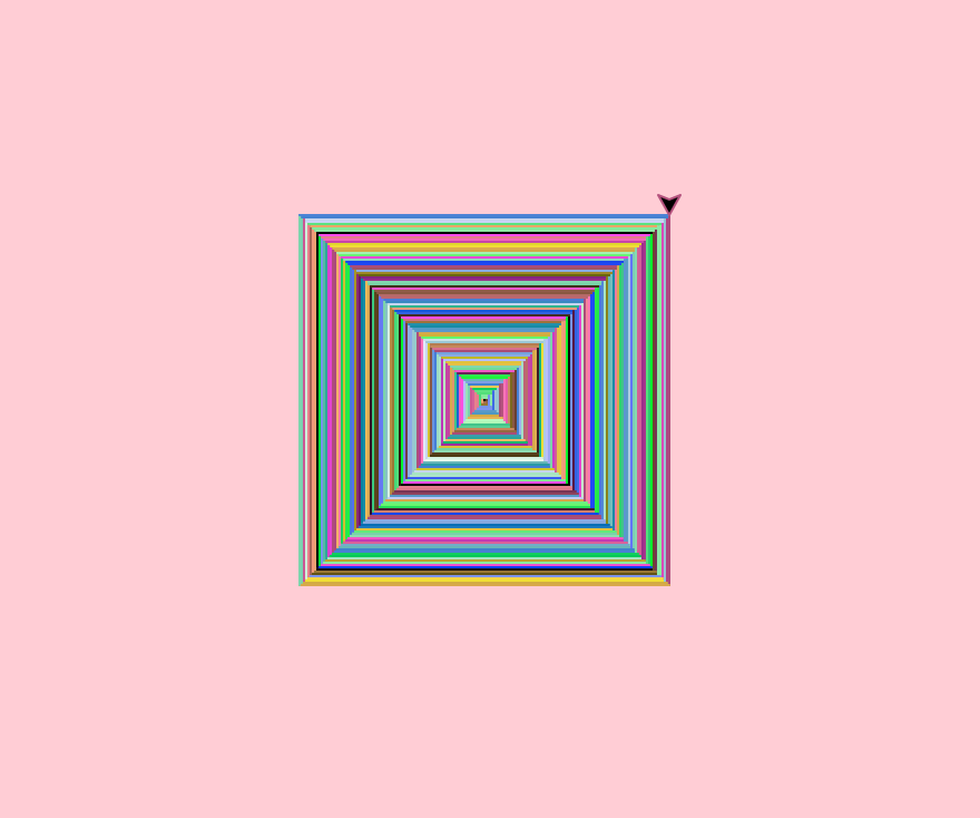rainbow Fibonacci spiral with pink background